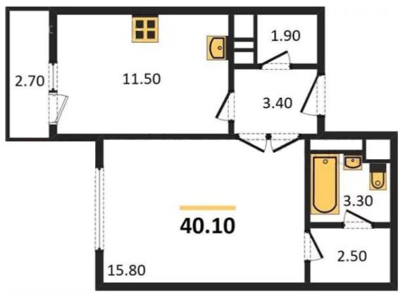 Планировка Однокомнатная квартира площадью 40.1 кв.м в ЖК «ЖК Сокол»