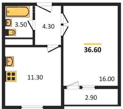 Планировка Однокомнатная квартира площадью 36.6 кв.м в ЖК «ЖК Сокол»