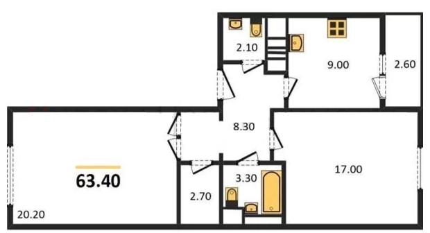 Планировка Двухкомнатная квартира площадью 63.4 кв.м в ЖК «ЖК Сокол»