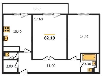 Планировка Двухкомнатная квартира площадью 62.1 кв.м в ЖК «ЖК Сокол»