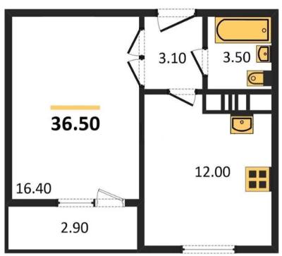 Планировка Однокомнатная квартира площадью 36.5 кв.м в ЖК «ЖК Сокол»