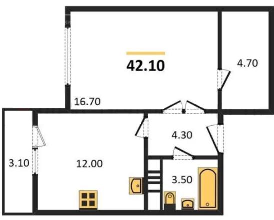 Планировка Однокомнатная квартира площадью 42.1 кв.м в ЖК «ЖК Сокол»