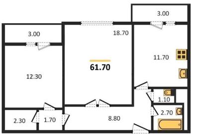 Планировка Двухкомнатная квартира площадью 61.7 кв.м в ЖК «ЖК Сокол»