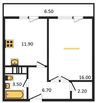 Планировка Однокомнатная квартира площадью 42.3 кв.м в ЖК «ЖК Сокол»